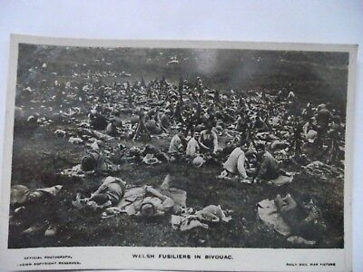 WW1 Real Photo Postcard WELSH FUSILIERS IN BIVOUAC