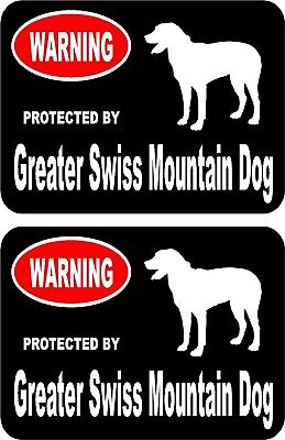 2 protected by Greater Swiss Mountain dog home window vinyl decals stickers #A
