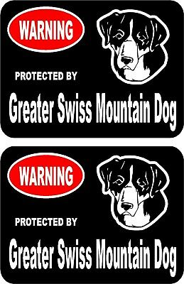 2 protected by Greater Swiss Mountain dog home window vinyl decals stickers #B