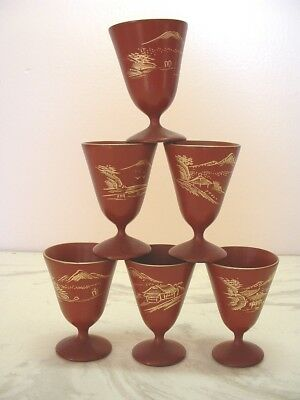 "Set of 6 Mid-Century Lacquer Pedestal Saki Cups Made in Japan, 2.5"" Tall"