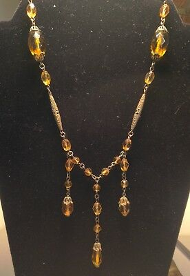 Vintage Art Deco Era Czech Glass And Brass Beaded Lavalier Necklace