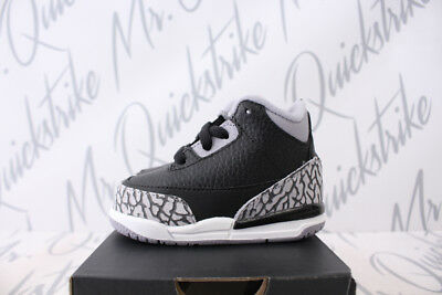 Air Jordan 3 Retro Iii Td Sz 2-10 Toddler Black Cement Grey Red White 832033 021