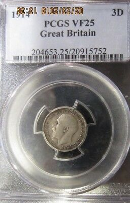 Great Britain 3 Pence, 1914 .925 silver KM#813