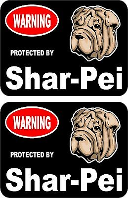 2 protected by Shar Pei dog car home window vinyl decals stickers #C