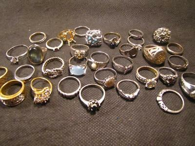 Lot of 32 Junk Drawer Vintage Silver & Gold Plated Rings Z26