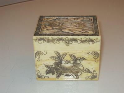 Stunning Antique Signed Japanese Carved Lidded Box With Coy Carp Decoration