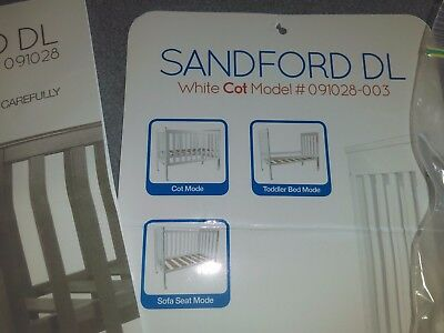 3in1 white cot, bedding + extras