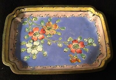 Antique Chinese Canton Enamel Flower Rectangular Small Dish Tray China Beautiful