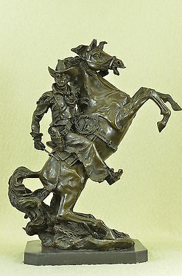 Old West Cowboy With Horse Bronze Sculpture Western Art Remington Figurine Deco
