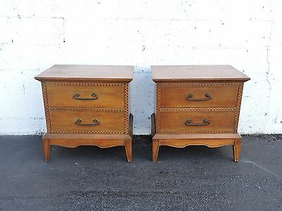 Mid Century Modern Pair of Nightstands  End Tables by Pulaski  7387