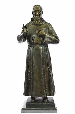 Hot Cast Bronze Patron Saint Padre Pio Pius Holding Crucifix Home Figure Statue