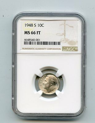 1948-S Silver Roosevelt Dime (MS 66 FT) NGC