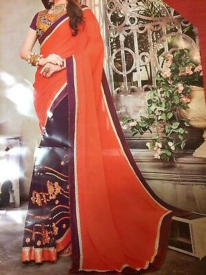 Orange Purple Georgette Saree With DesIgner Embroidered Blouse And Fall Stitched