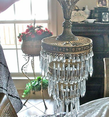 """Antique 30's-40' French BRASS ROUND Style Crystal Chandelier Lamp 23""""LNG 2 TIER"""