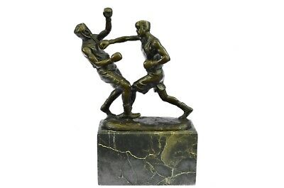 Solid Bronze Created By Lost Wax Process Boxer Fighter Welterweight Marble Base