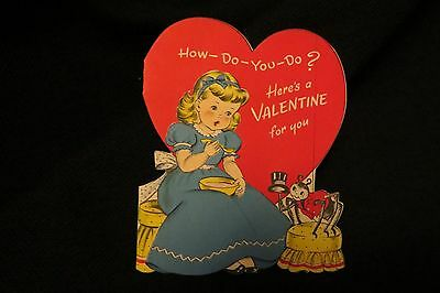 Vintage MISS MUFFET Spider Valentine card c. 1940s by: norcross