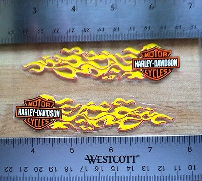 Harley-Davidson Pair Of Flames Outside Window Decals Older Harley Stickers 1 X 4