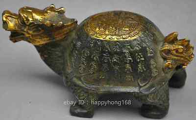 old china chinese fengshui bronze Dragon turtle tortoise longevity lucky statue