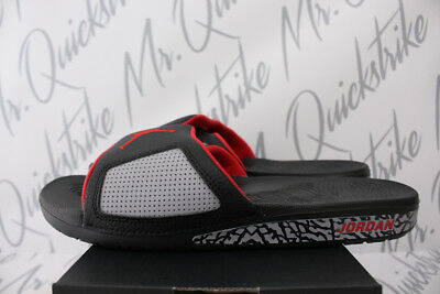 4111129a5d35 Nike Air Jordan Hydro 3 Retro Iii Slide Sz 10 Black Red Cement Grey 854556  003