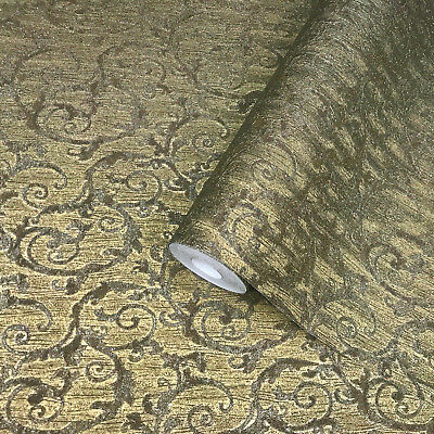 victorian textured non-woven wallcoverings modern damask gold metallic wallpaper
