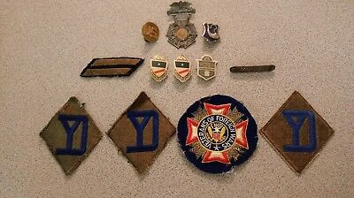 Lot Of 12 - Ww2 Era Insignia. Patches And Pin.26Th Infantry, Marksman,n. Guard