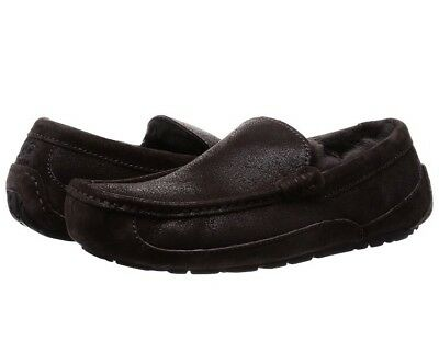 UGG ASCOT BOMBER Chocolate SHEEPSKIN SLIPPERS MOCCASIN MENS 1008391 SZ 12