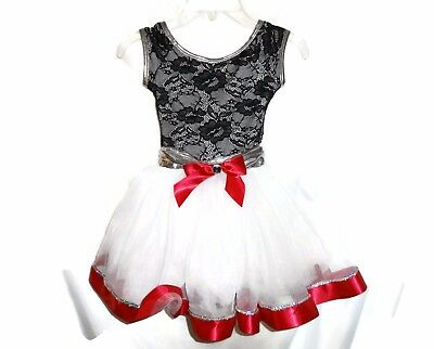 THEATRICALS Size CS S Dance Costume Black White Red Ballet Jazz Tap