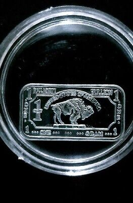 1 gram  .999 Fine Palladium Art Bar - Rare Buffalo Design