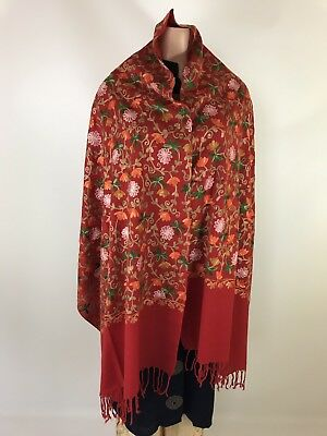 $25 Deal Pashmina Hand-Embroidered Kashmiri Shawl Indian women  Scarf Bright Red