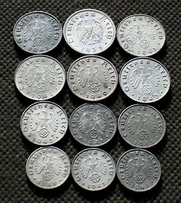 Lot Of Twelve Nazi Germany Coins From World War Ii With Swastika - Mix 317