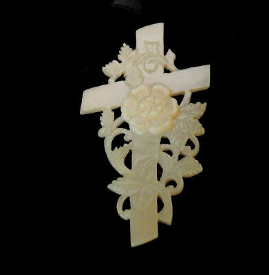 Antique Hand Carved Mother Of Pearl Rose Crucifix Cross Rosicrucian Brooch #21