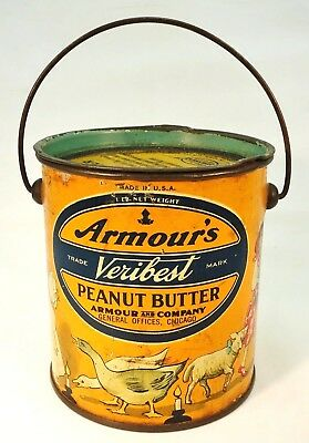 Antique Veribest Peanut Butter Tin with nursery rhymes!!!