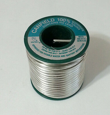1lb Spool Canfield 100% Watersafe Lead Free .125in Dia. Silver Solder 85310 NEW