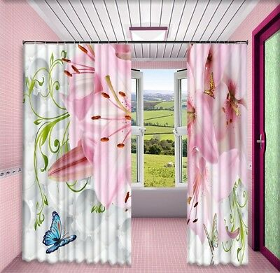 3D Pink Lily Flowers Butterfly Printing Window Curtains Blockout Drapes Fabric