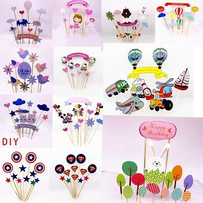 11pcs Baby Shower Cake Decoration Cupcake Toppers Decor Inserted Card