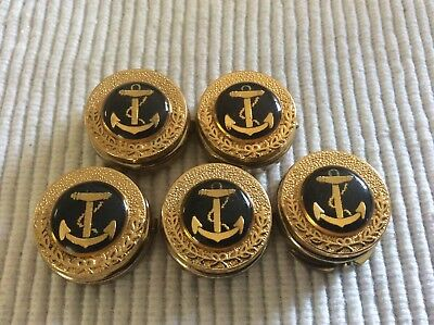 Nony New York Vintage button covers gold military anchor x 5