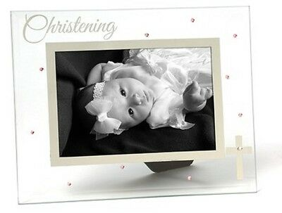 "Russ Berrie Small Blessings Christening Glass Photo Frame, Pink, Holds 4"" x 6"""