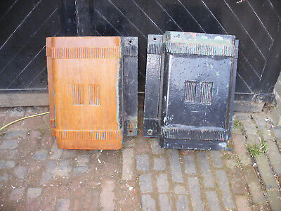 Pair of very large reclaimed cast iron art deco rainwater hoppers