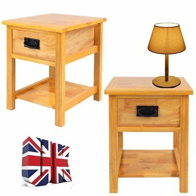 Waxed Oak Bedside Table Units 1 Drawer Nightstand Side Table Unit Stand Cabinets