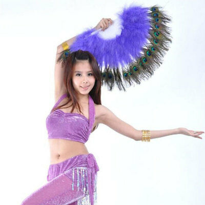 Peacock Feather Hand Folding Fan Dance Costume Party Decoration Wedding Dance