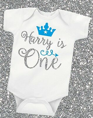 Personalised Silver Glitter First 1st Birthday Baby Boy Grow Vest Free P&P