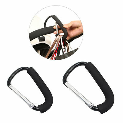 Baby Stroller Buggy Puschair Bar Hook Strap Pram Hooks With Carabiner Clip
