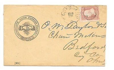 MERCHANTS UNION EXPRESS COMPANY Illustrated Cover w US#65 - OHIO / OH Towns
