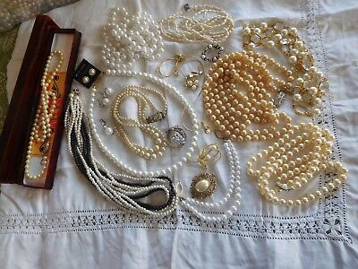 Lovely Huge Mixed JOB Lot of Vintage 1950s/60s PEARL Costume Jewellery