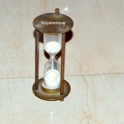 Nautical Solid Brass Sand Timer Maritime Marine Hour Glass Top Decor Gift Item