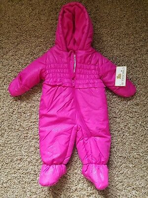 19ac21b6fbf3 NWT BABY GIRLS 6-9 MONTHS CARTERS Pram Snowsuit Pink w  Shiny Fair ...