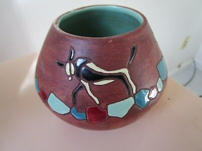 "Greek Pottery Bowl Hand Made Turquoise Decor 4 X 5"" [*offic]"