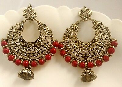 Vintage Ethnic Jewelry Gold Silver Oxidized Indian Pearl Jhumka Red Earrings