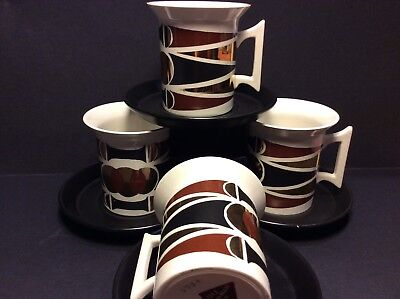 Portmeirion 1961 Gold Diamond,Cups & Saucers (4),designer Susan Williams Ellis.
