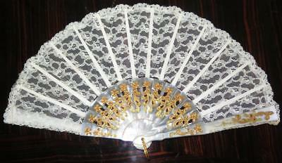 Vintage Gold Gilt Mother of Pearl Lace Brise Fan